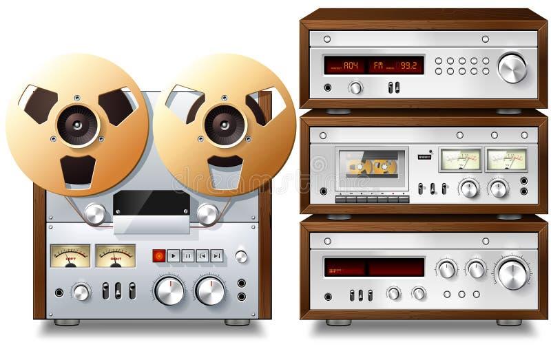 Cremalheira audio estereofónica do vintage dos componentes da música análoga ilustração do vetor