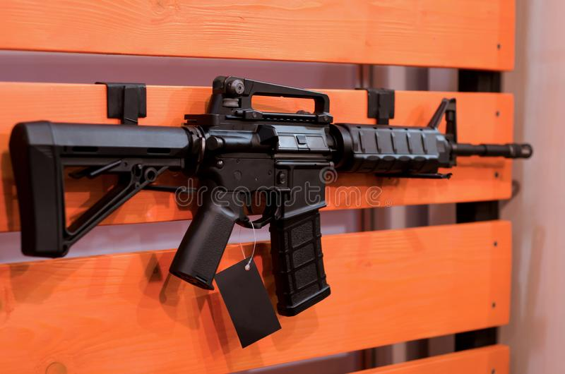 Cremalheira da parede da arma com rifles fotos de stock royalty free