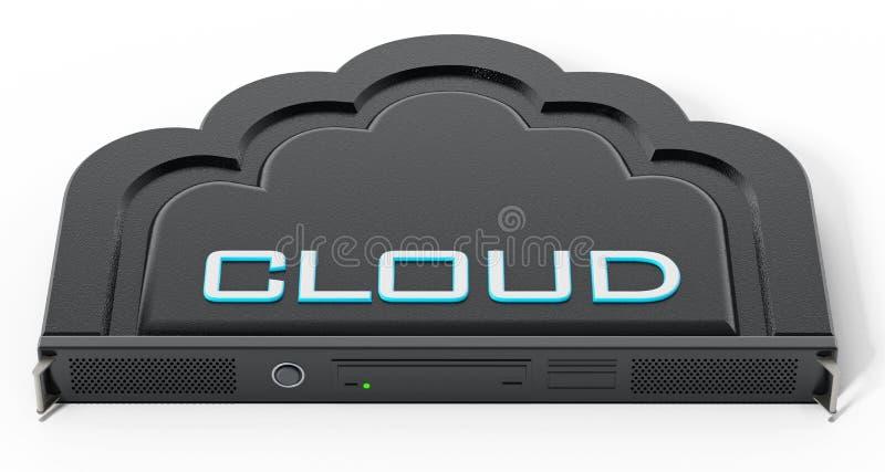 Cremalheira dada forma nuvem do servidor de rede ilustração 3D ilustração stock