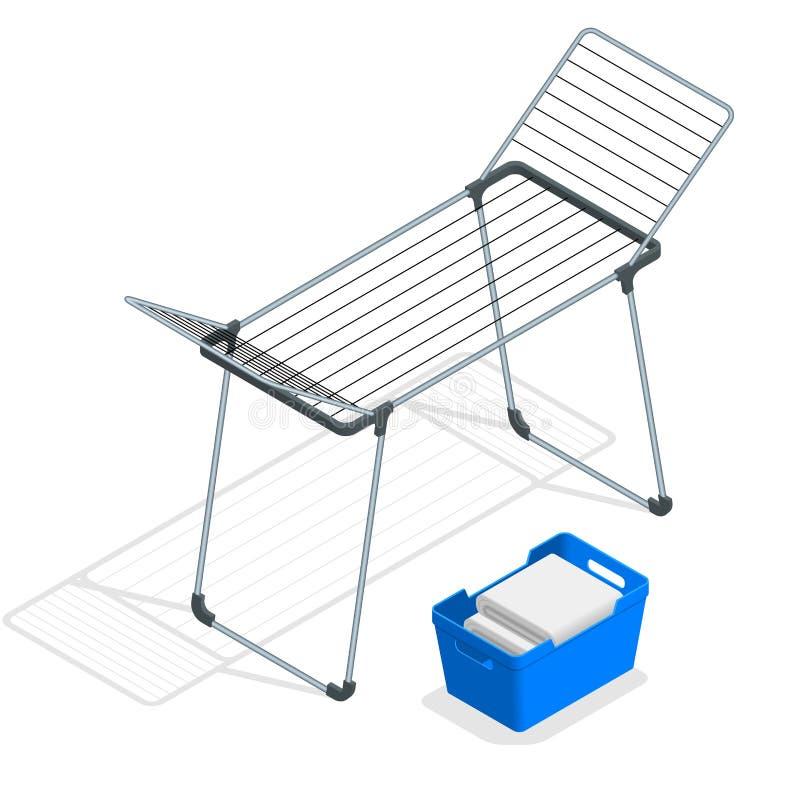 Cremalheira de pano vazio isométrico e cesta de lavanderia de secagem no branco Veste uma ilustração mais seca do vetor ilustração stock