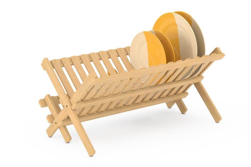 Cremalheira de secagem do prato de bambu da cozinha com placas e canecas renderi 3D ilustração do vetor