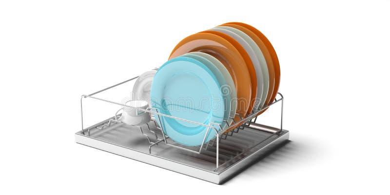 Cremalheira de secagem do prato da cozinha isolada no fundo branco ilustração 3D ilustração do vetor