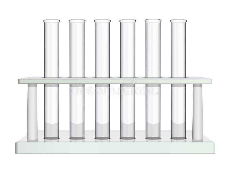 Cremalheira do laboratório com tubos de ensaio de vidro Equipamento especial para a análise e o estudo de processos químicos e bi ilustração royalty free