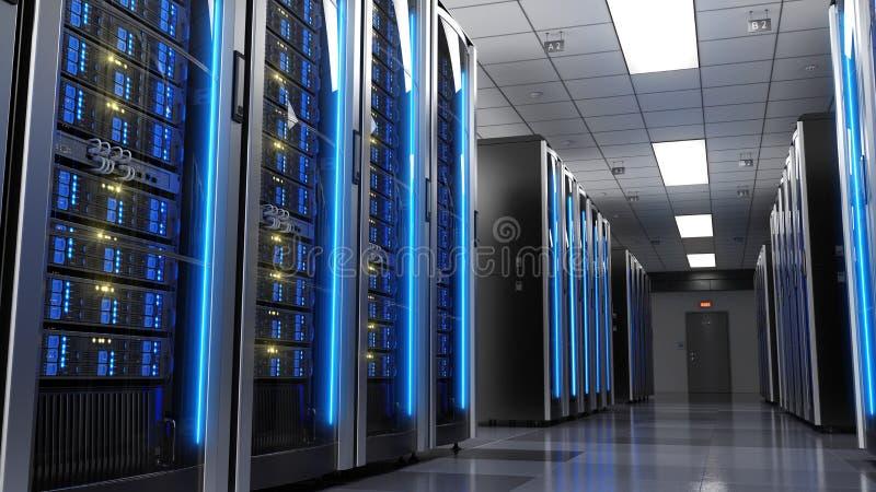 Cremalheiras do servidor no centro de dados da sala do servidor ilustração royalty free