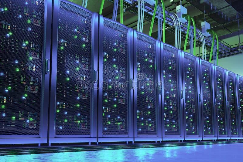 Cremalheiras do servidor no centro de dados Technologes de Digitas ilustração stock