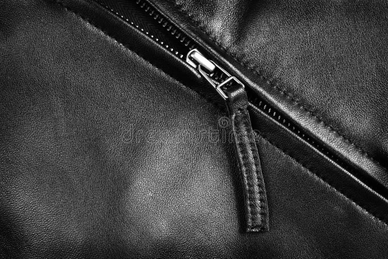 Cremallera de la chaqueta de cuero imágenes de archivo libres de regalías