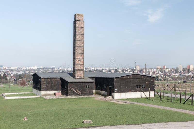 Crematório de Majdanek no campo de concentração de Nazi German foto de stock
