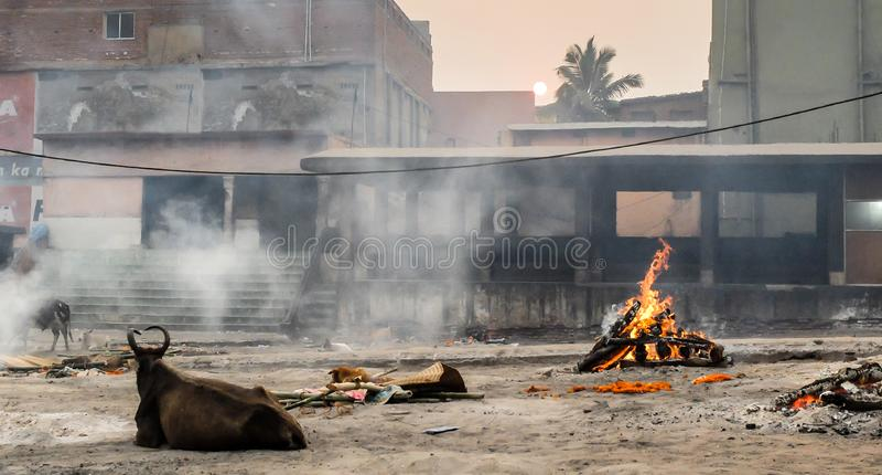 Crematório de Swargadwar em Puri, estado de Odisha, Índia imagens de stock