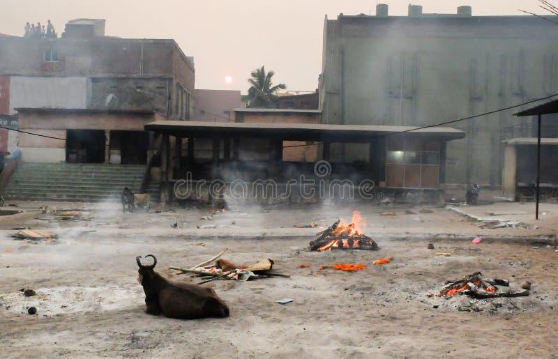 Crematório de Swargadwar em Puri, estado de Odisha, Índia fotografia de stock