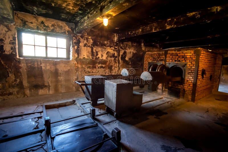 Crematório no campo de concentração de Auschwitz Birkenau, Polônia imagens de stock