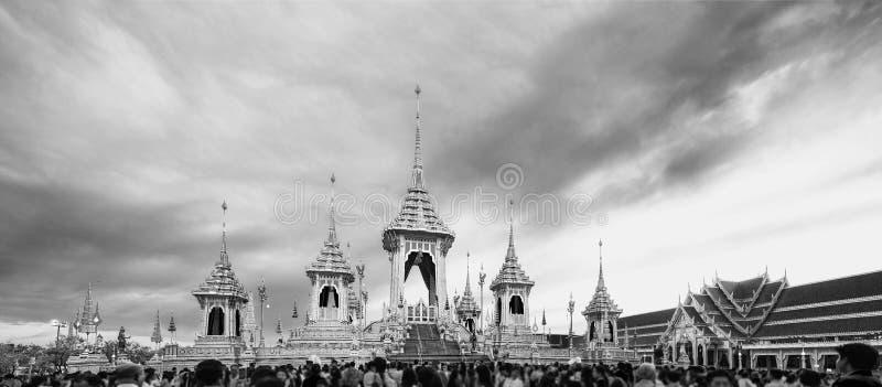 Crematório real para a cremação real de seu rei Bhumibol Adulyadej da majestade foto de stock