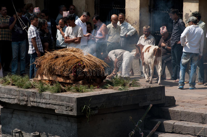 Cremation ceremony at Pashupatinath temple. Nepal stock image
