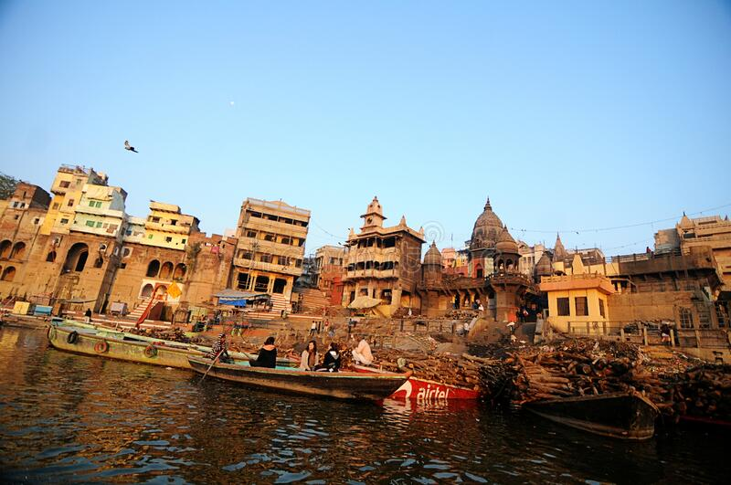 A cremation Ghat, also known as Manikarnika Ghat royalty free stock photos
