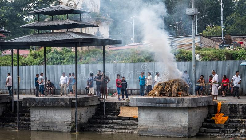 Cremations near the Pashupatinath temple. stock photos