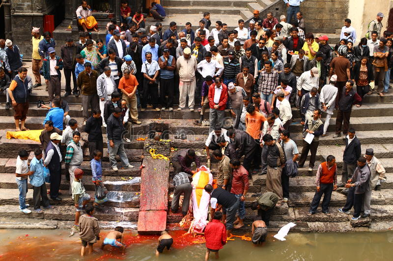 Cremations are performed at Pashupatinath Temple. On the banks of River Baghmati in Kathmandu, Nepal stock images