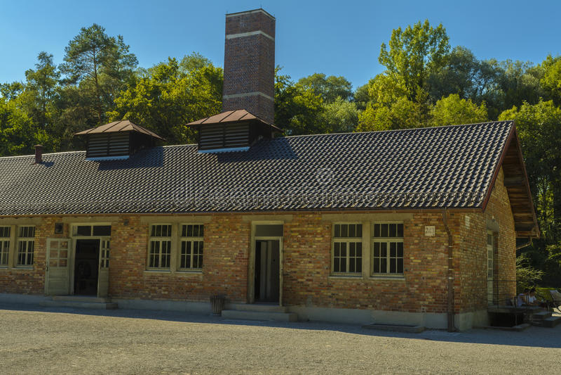 Crematorio dal campo di concentramento di Dachau, Germania fotografie stock