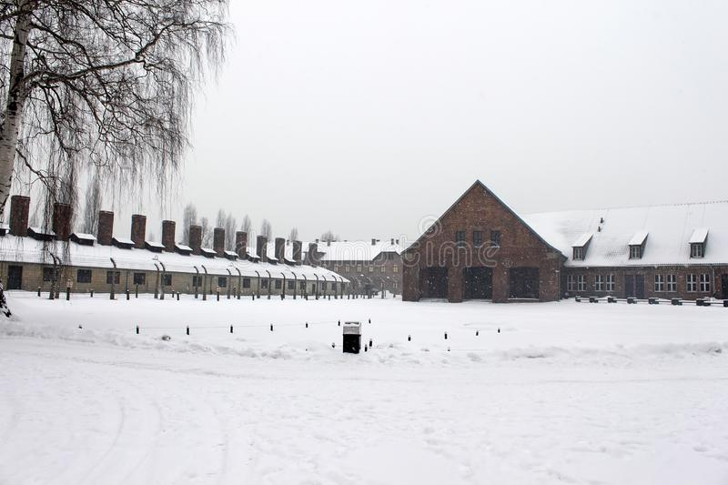 Crematorium left in Auschwitz concentration camp was a network of concentration and extermination camps. Built and operated by Nazi Germany in occupied Poland royalty free stock photography
