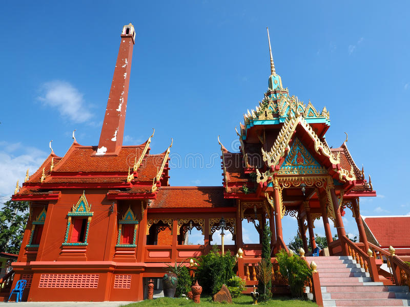 Crematorium at Thai temple. Crematorium soaring into blue sky at Wat Bang Phraek Nua royalty free stock photo