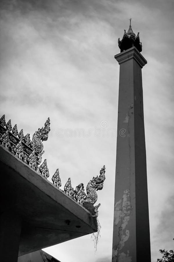 The crematory at Thai temple with black and white image royalty free stock photography