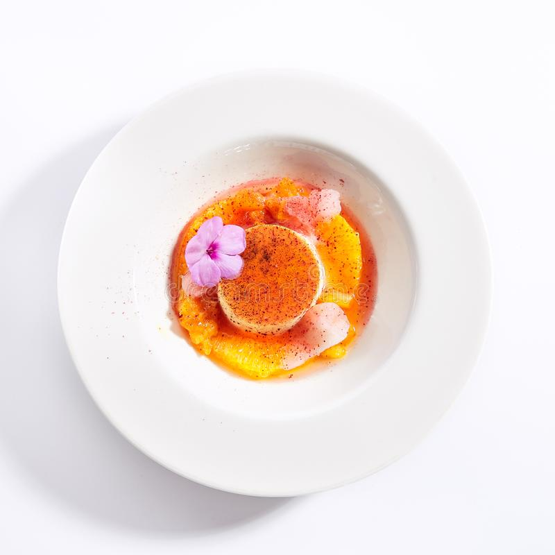 Creme brulee top view stock images