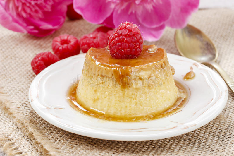 Creme caramel. Festive and party dessert royalty free stock photo