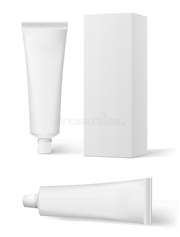 Creme cosmético branco realístico e empacotamento Tubo para pomadas, creme, pasta de dente, colagem Pasta de dente do tubo de vet ilustração do vetor