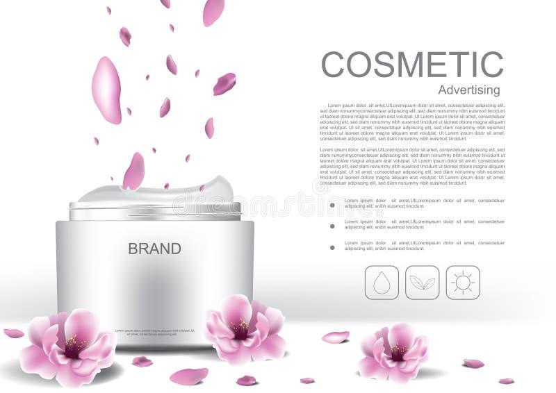 Creme cosmético com molde e flores ilustração royalty free