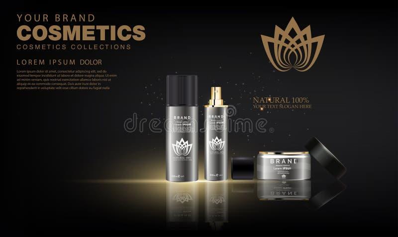 Creme cosmético luxuoso dos cuidados com a pele do pacote da garrafa, cartaz cosmético do produto da beleza ilustração do vetor