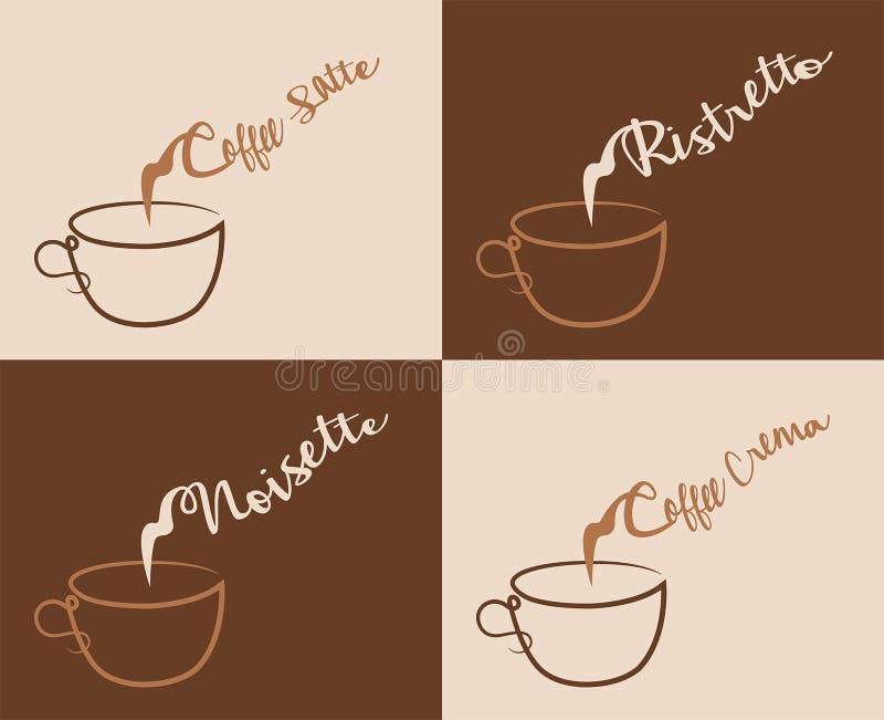 Creme de café e outros tipos do café com vapor ilustração stock