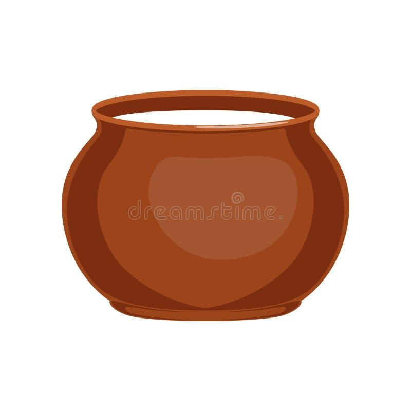 Creme de leite na ilustração do potenciômetro de argila, a fresca e a saudável dos produtos láteos do vetor ilustração royalty free