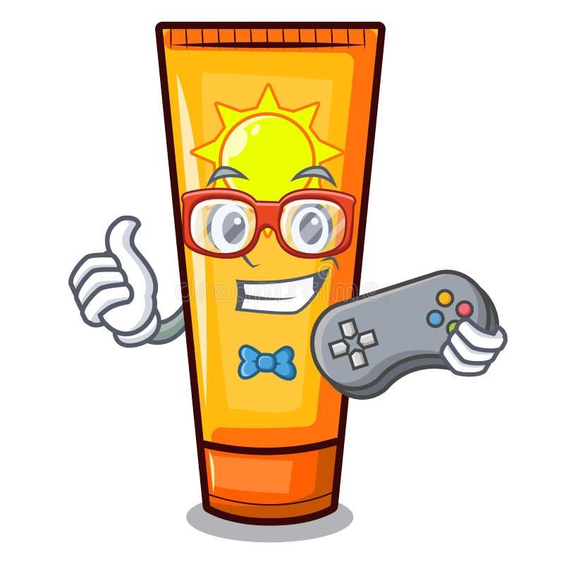 Creme do sol dos desenhos animados do Gamer na composição do saco ilustração royalty free