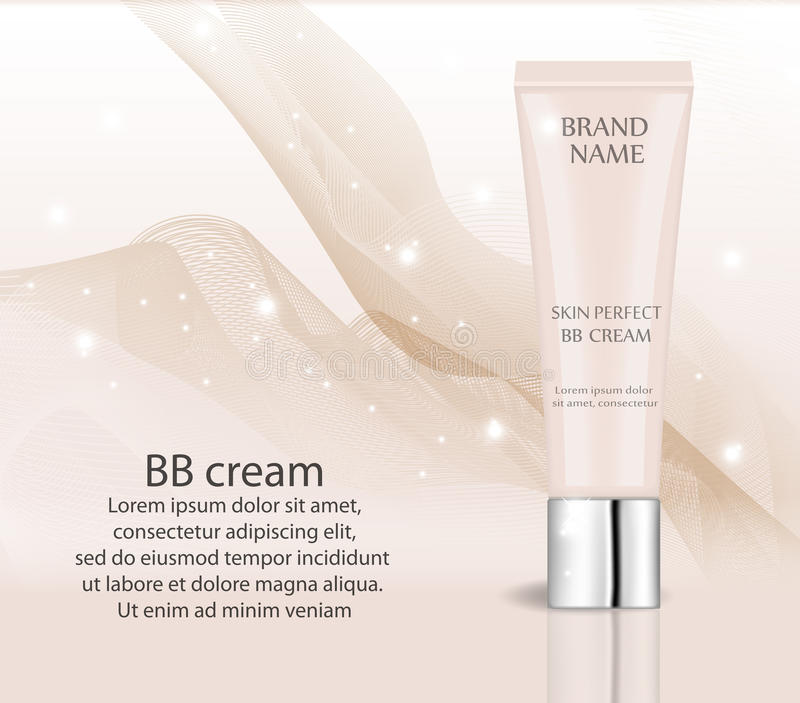 Creme realístico do BB, molde do projeto da fundação para cosméticos Composição, conceito limpo da pele tubo 3d do modelo do tona ilustração do vetor
