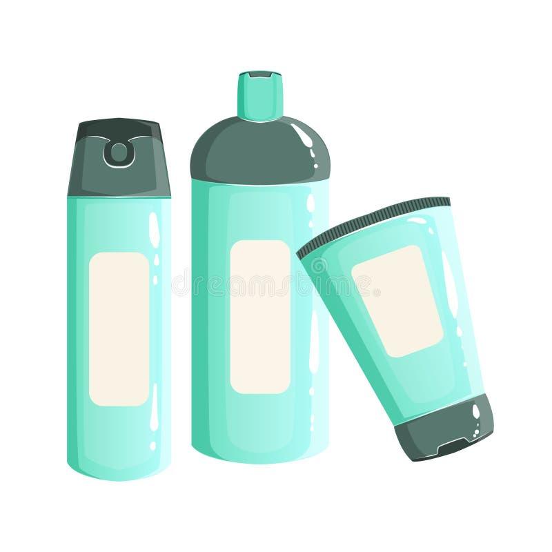 Creme, Shampoo-und des desodorierenden Mittels Behälter, Schönheit und Skincare-Produktserie gesetztes Schablonen-Design stock abbildung