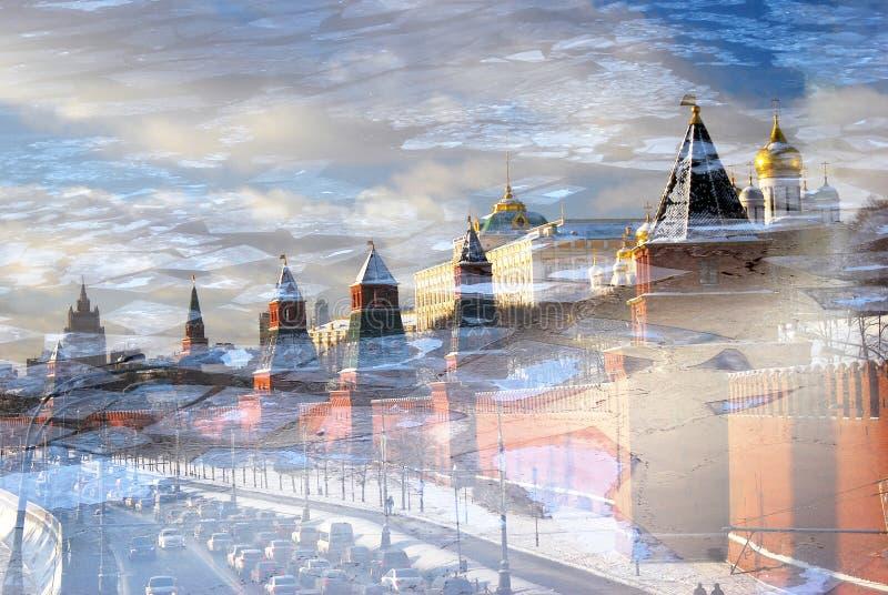 Cremlino di Mosca nell'inverno Collage artistico immagini stock libere da diritti
