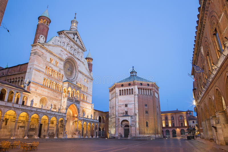 Cremona - The cathedral Assumption of the Blessed Virgin Mary dusk. stock images