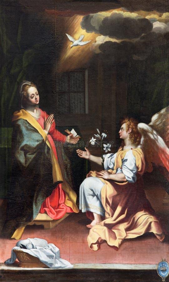 CREMONA, ITALIË, 2016: Aankondiging het schilderen in Di Santa Agata van kerkchiesa door Andrea Scudellari & x28; 1857& x29; royalty-vrije stock foto