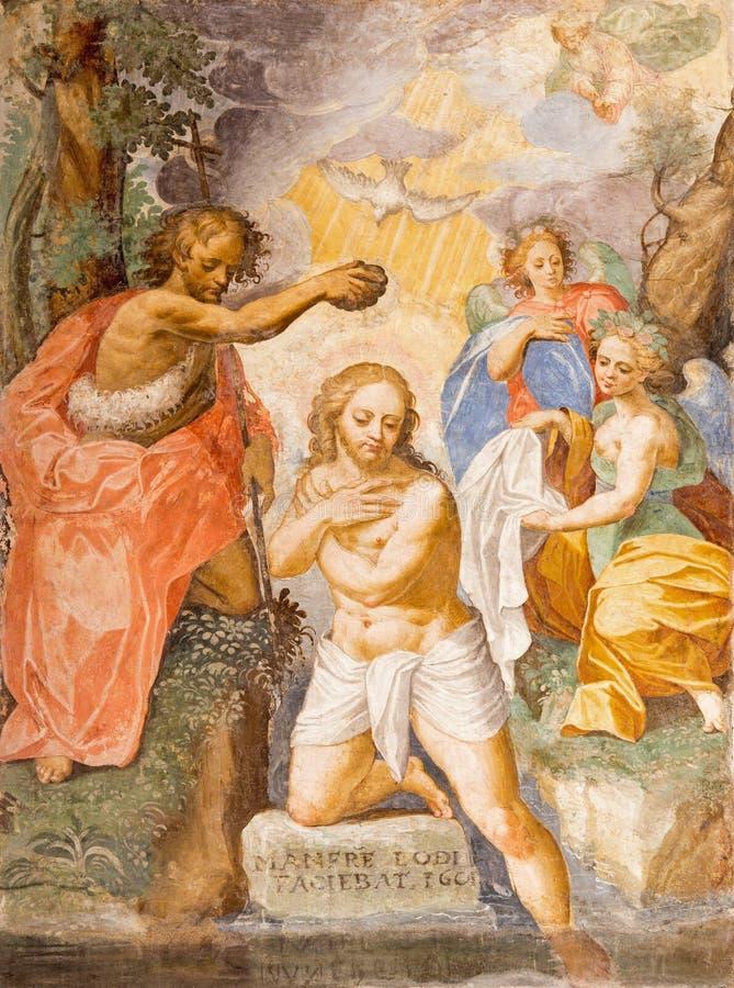 CREMONA, ITALIË, 2016: De fresko van Doopsel van Christus in Chiesa Di San Agostino stock afbeeldingen