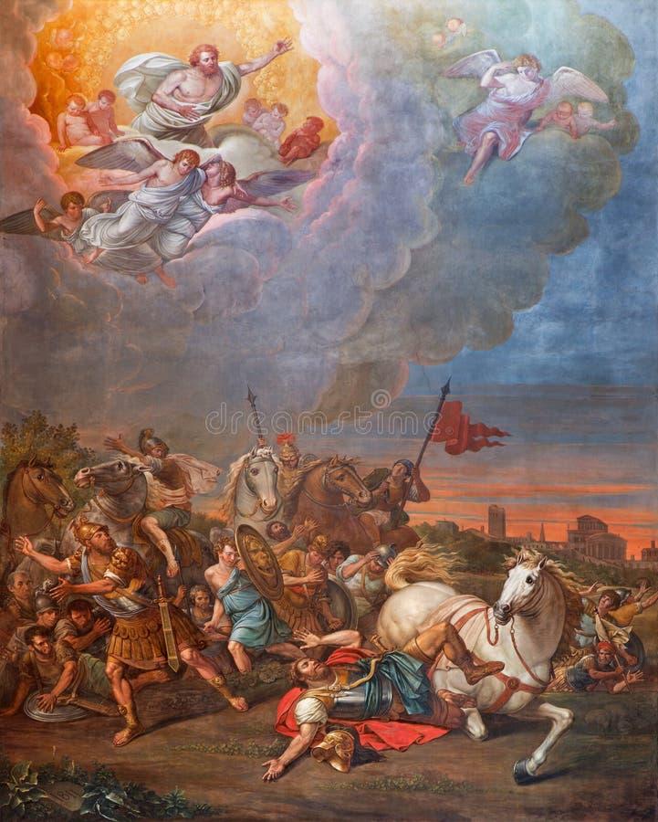 CREMONA, ITALIË, 2016: De Omzetting van St Paul fresko in Kathedraal van Veronderstelling van Heilige Maagdelijke Mary stock foto