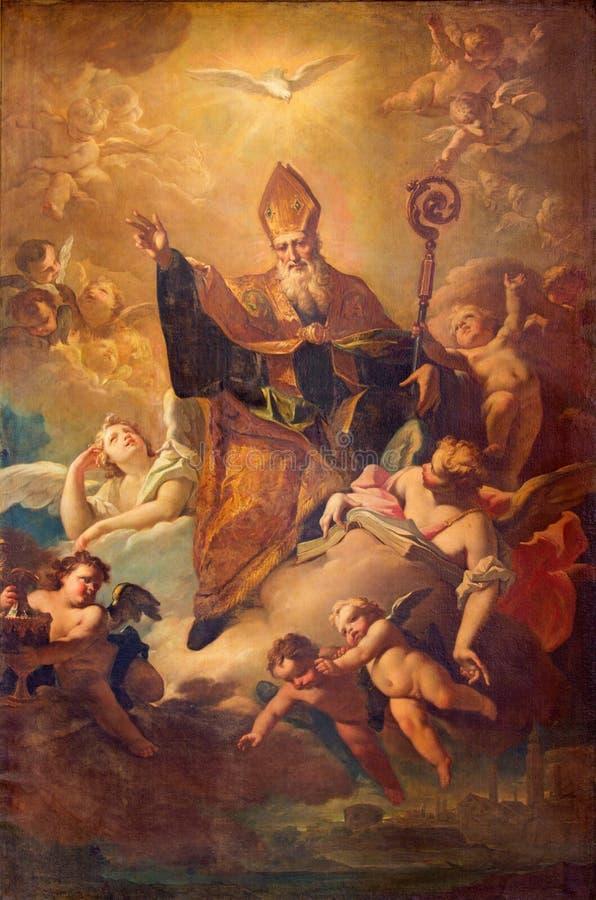CREMONA, ITALIA, 2016: La pittura di San Benedetto nella gloria dentro nella cattedrale da Giovanni Angelo Borroni immagini stock libere da diritti