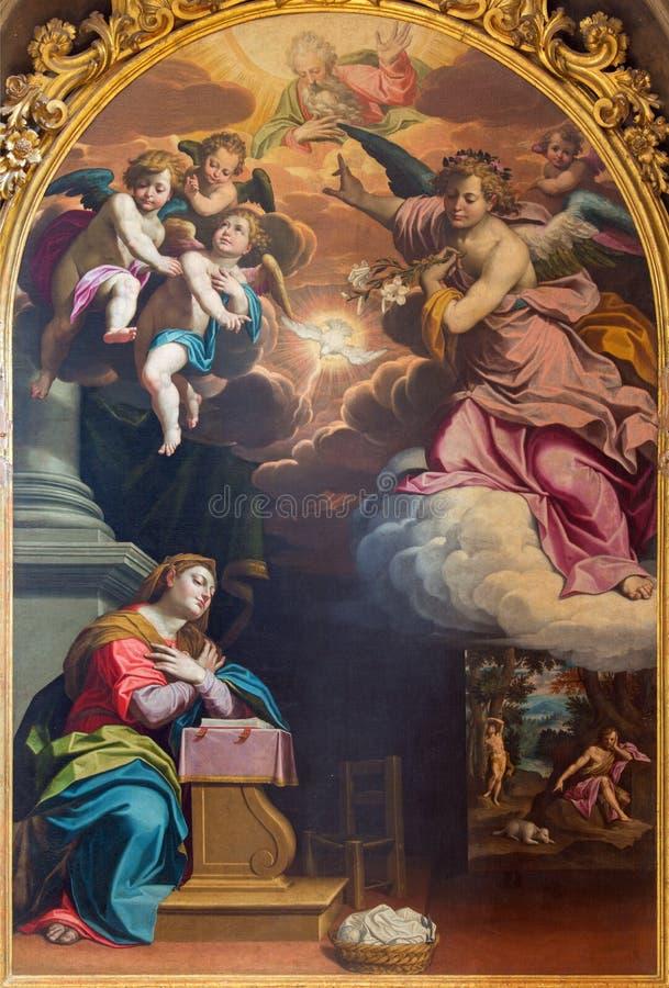CREMONA, ITALIA: Pittura di annuncio da Giovanni Battista Trotti in cattedrale del presupposto Blessed vergine Maria immagini stock libere da diritti