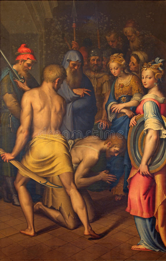 Free CREMONA, ITALY, 2016: The Decapitation Of St. John The Baptist Paint In Cathedral By Bernardino Campi Stock Photo - 77227130