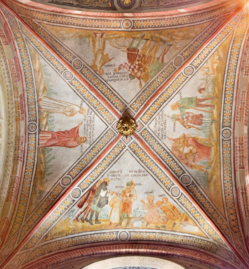 CREMONA, ITALY, 2016: The gothic ceiling fresco in left transept of The Cathedral with the Old Testament scenes. CREMONA, ITALY - MAY 25, 2016: The gothic stock image