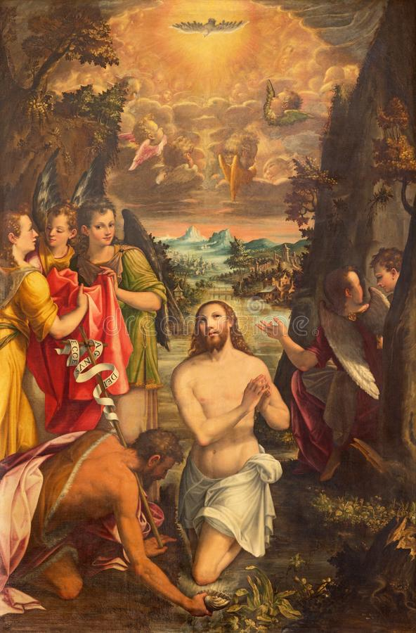 Free CREMONA, ITALY - MAY 24, 2016: The Panting Of Baptism Of Jesus In Church Chiesa Di San Agostino By Andreas Mainardus 1593 Stock Photos - 110943433