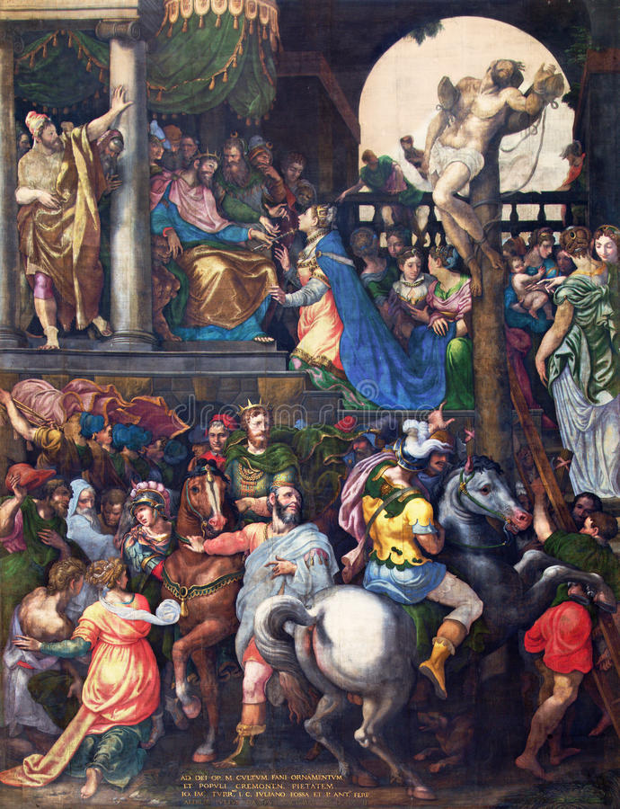 CREMONA, ITALY, 2016: The painting Triumph of Mordecai in Cathedral of Assumption of the Blessed Virgin Mary. CREMONA, ITALY - MAY 24, 2016: The painting Triumph royalty free stock photo