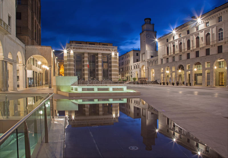 Cremona - The Piazza Cavour square at dusk. stock photos