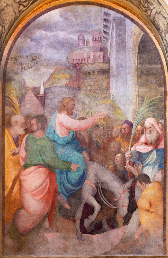 CREMONA, WŁOCHY, 2016: Fresku wejście Chrystus w Jerozolima w Chiesa Di Santa Rita Giulio campos & x28; 1547& x29; obrazy royalty free