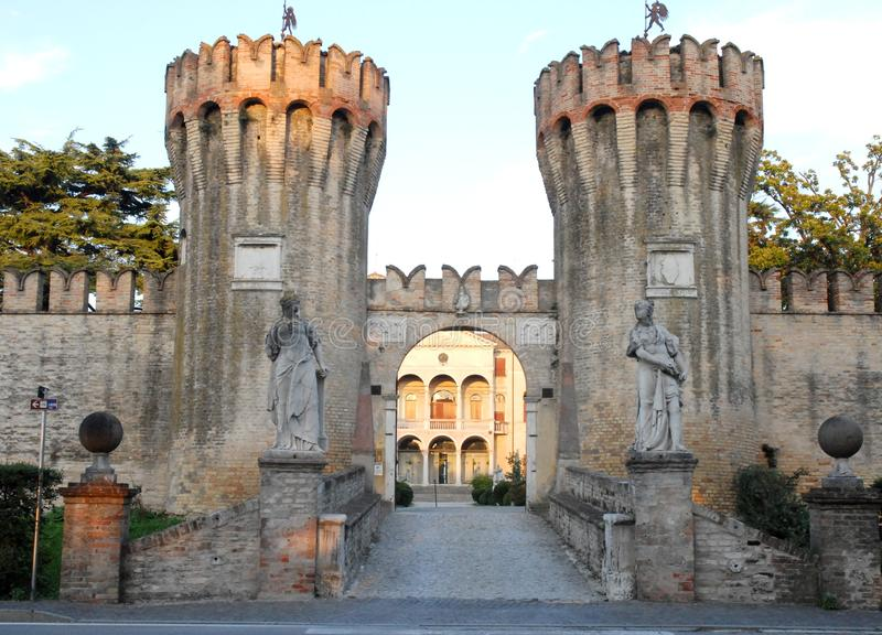 Crenellated towers at the entrance of the Villa Giustinian in Roncade in the province of Treviso in the Veneto (Italy) royalty free stock image