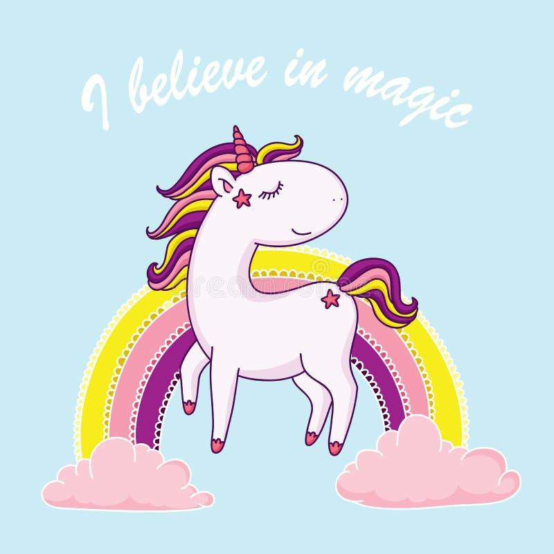 Creo en el ejemplo mágico del unicornio ilustración del vector