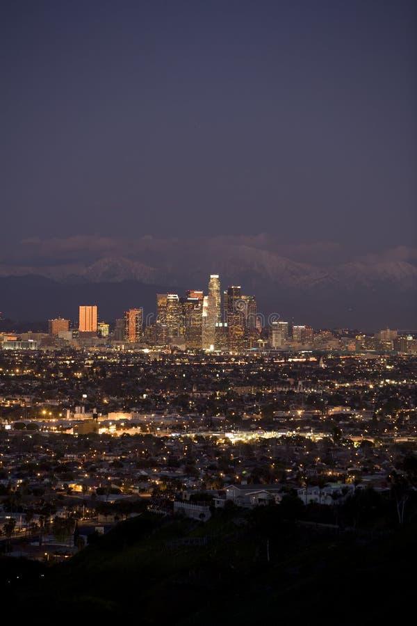 Crepúsculo da baixa de Los Angeles imagens de stock royalty free