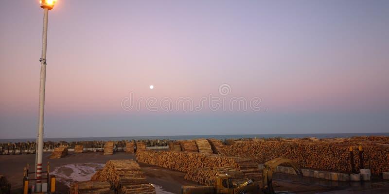 crepúsculo da jarda do log do porto do cais foto de stock royalty free